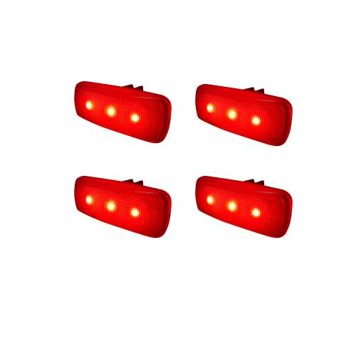 Recon Truck Accessories - 264137BK | Dually Fender Lenses (4-Piece Set) w/ 2 Red LED Lights & 2 Amber LED Lights – Smoked Lens  - Image 2