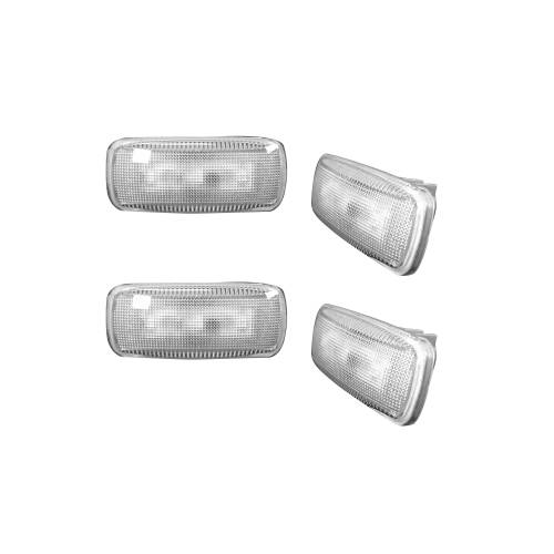 Lighting - Mirror & Marker Lights - Recon Truck Accessories - 264137CL |Dually Fender Lenses (4-Piece Set) w/ 2 Red LED Lights & 2 Amber LED Lights – Clear Lens