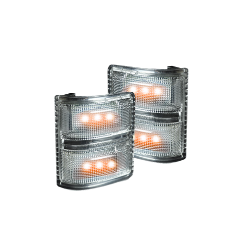 Lighting - Mirror & Marker Lights - Recon Truck Accessories - 264140CL | Side Mirror Lenses (2-Piece Set) w/ AMBER LED Running Lights & Turn Signals – Clear Lens