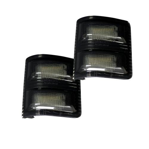 Lighting - Mirror & Marker Lights - Recon Truck Accessories - 264140WHBKS | Side Mirror Lenses (2-Piece Set) w/ WHITE LED Running Lights & AMBER Scanning LED Turn Signals – Smoked Lens