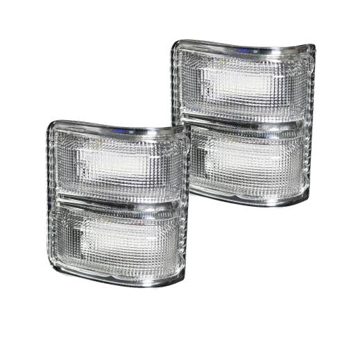 Lighting - Mirror & Marker Lights - Recon Truck Accessories - 264140WHCLS | Side Mirror Lenses (2-Piece Set) w/ WHITE LED Running Lights & AMBER Scanning LED Turn Signals – Clear Lens
