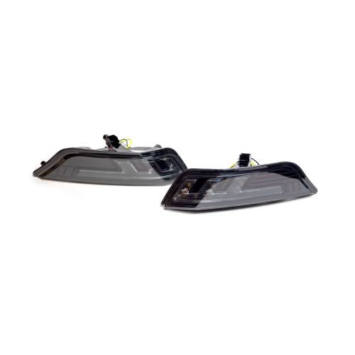 Lighting - Mirror & Marker Lights - Recon Truck Accessories - 264147BK | Front Lower Bumper Corner Mounted White LED Running Light & Amber LED Turn Signal – Smoked Lens