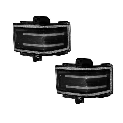 Lighting - Mirror & Marker Lights - Recon Truck Accessories - 264245WHBK | Side Mirror Lenses (2-Piece Set) w/ WHITE LED Running Lights, AMBER Scanning LED Turn Signals & WHITE LED Spot Lights – Smoked Lens