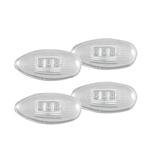 Lighting - Mirror & Marker Lights - Recon Truck Accessories - 264133CL | Dually Fender Lenses (4-Piece Set) w/ 2 Red LED Lights & 2 Amber LED Lights – Clear Lens