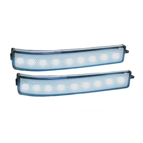 Lighting - Mirror & Marker Lights - Recon Truck Accessories - 264241WHCL | Side Mirror Lenses w/ WHITE LED Running Lights or Turn Signals (2-Piece Set) – Clear Lens