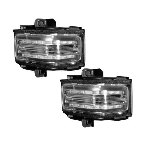 Lighting - Mirror & Marker Lights - Recon Truck Accessories - 264245AMCL | Side Mirror Lenses (2-Piece Set) w/ AMBER LED Running Lights, AMBER Flashing LED Turn Signals & WHITE LED Spot Lights – Clear Lens