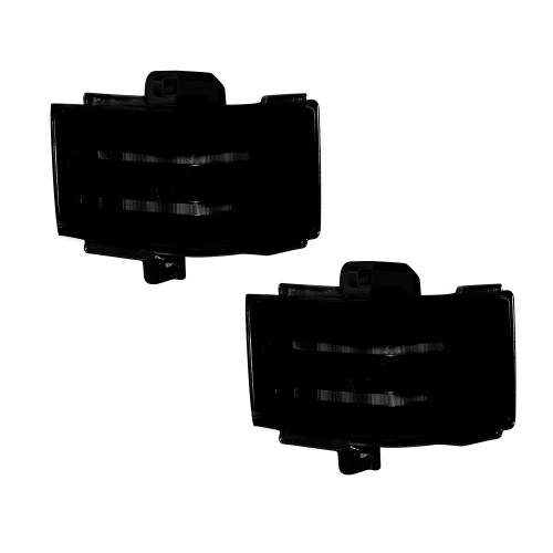Lighting - Mirror & Marker Lights - Recon Truck Accessories - 264245WHBKX | Side Mirror Lenses (2-Piece Set) w/ WHITE LED Running Lights, AMBER Blinking LED Turn Signals & WHITE LED Spot Lights – Smoked Lens
