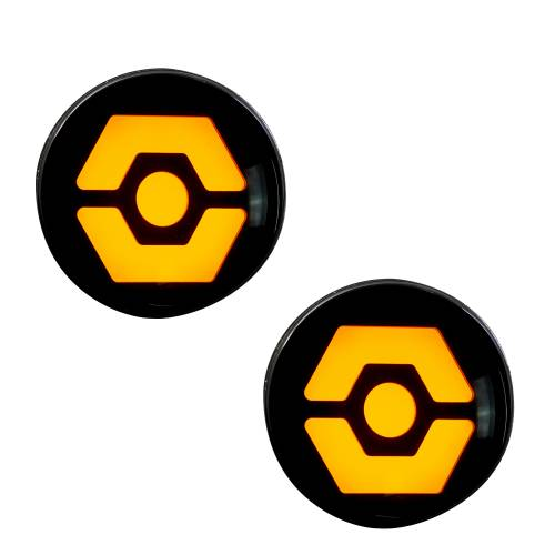 Lighting - Mirror & Marker Lights - Recon Truck Accessories - 264334CL | Round Front Turn Signal Lenses with Amber Hexagon-Shaped OLED Design Located Under Front Headlights – Clear Lens