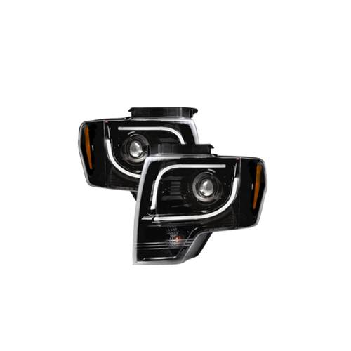 Lighting - Headlights - Recon Truck Accessories - 264190BKC | PROJECTOR HEADLIGHTS w/ Ultra High Power Smooth OLED HALOS & DRL