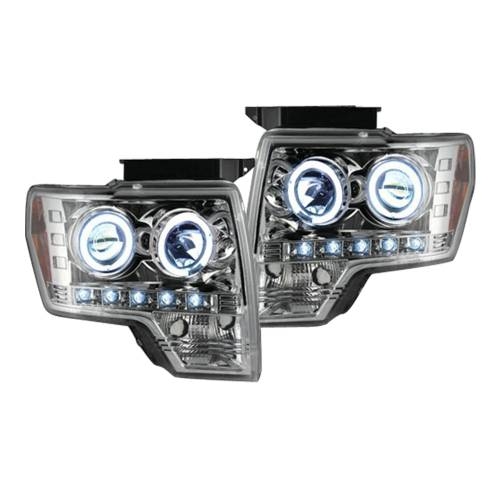 Lighting - Headlights - Recon Truck Accessories - 264190CL  | PROJECTOR HEADLIGHTS w/ CCFL HALOS & DRL
