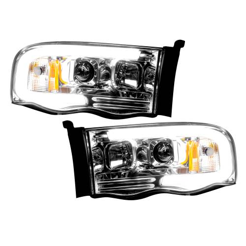 Lighting - Headlights - Recon Truck Accessories - 264191CLC | PROJECTOR HEADLIGHTS w/ Ultra High Power Smooth OLED HALOS & DRL – Clear / Chrome