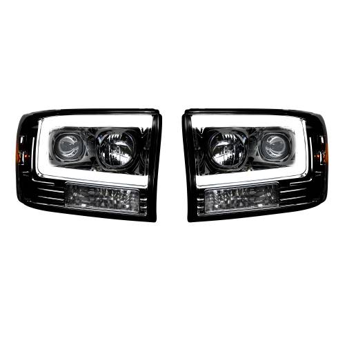 Lighting - Headlights - Recon Truck Accessories - 264192BKC | PROJECTOR HEADLIGHTS w/ Ultra High Power Smooth OLED HALOS & DRL – Smoked / Black