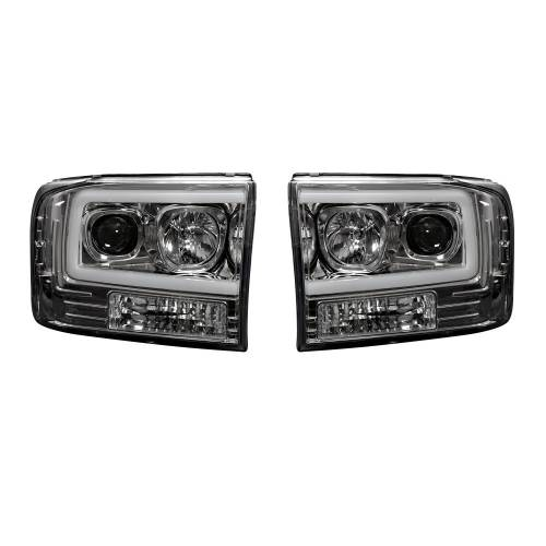 Lighting - Headlights - Recon Truck Accessories - 264192CLC | PROJECTOR HEADLIGHTS w/ Ultra High Power Smooth OLED HALOS & DRL – Clear / Chrome