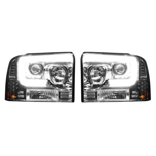 Lighting - Headlights - Recon Truck Accessories - 264193CLC | PROJECTOR HEADLIGHTS w/ Ultra High Power Smooth OLED HALOS & DRL – Clear / Chrome