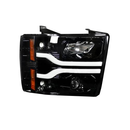 Lighting - Headlights - Recon Truck Accessories - 264195BKC | PROJECTOR HEADLIGHTS w/ Ultra High Power Smooth OLED HALOS & DRL – Smoked / Black