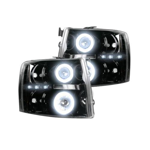 Lighting - Headlights - Recon Truck Accessories - 264195BKCC | PROJECTOR HEADLIGHTS w/ CCFL HALOS & DRL – Smoked / Black