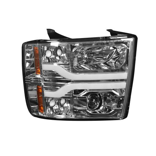 Lighting - Headlights - Recon Truck Accessories - 264195CLC | PROJECTOR HEADLIGHTS w/ Ultra High Power Smooth OLED HALOS & DRL – Clear / Chrome