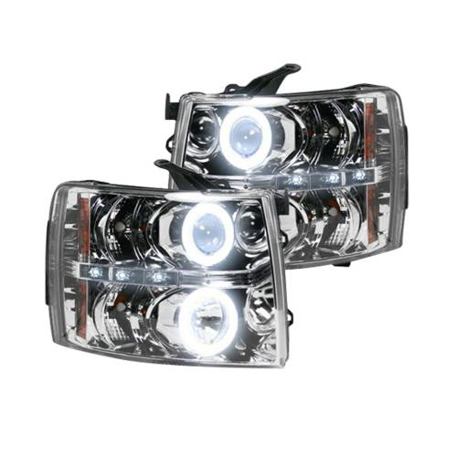 Lighting - Headlights - Recon Truck Accessories - 264195CLCC | PROJECTOR HEADLIGHTS w/ CCFL HALOS & DRL – Clear / Chrome