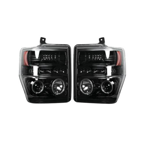 Lighting - Headlights - Recon Truck Accessories - 264196BKCC | PROJECTOR HEADLIGHTS w/ CCFL HALOS & DRL – Smoked / Black