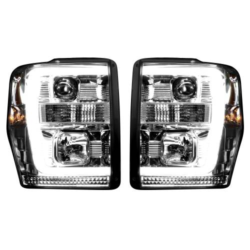 Lighting - Headlights - Recon Truck Accessories - 264196CLC | PROJECTOR HEADLIGHTS w/ Ultra High Power Smooth OLED HALOS & DRL – Clear / Chrome