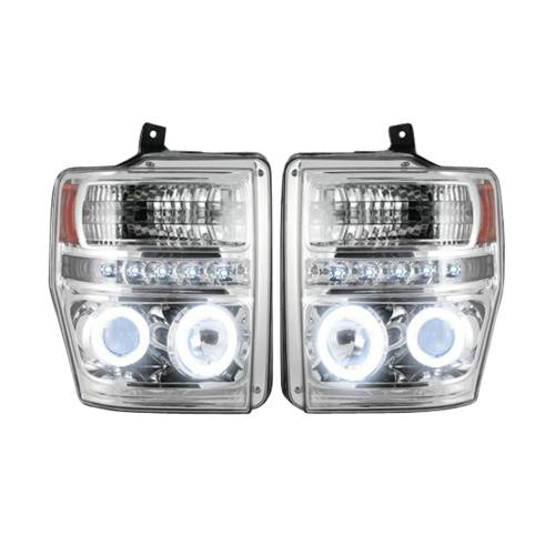 Lighting - Headlights - Recon Truck Accessories - 264196CLCC | PROJECTOR HEADLIGHTS w/ CCFL HALOS & DRL – Clear / Chrome