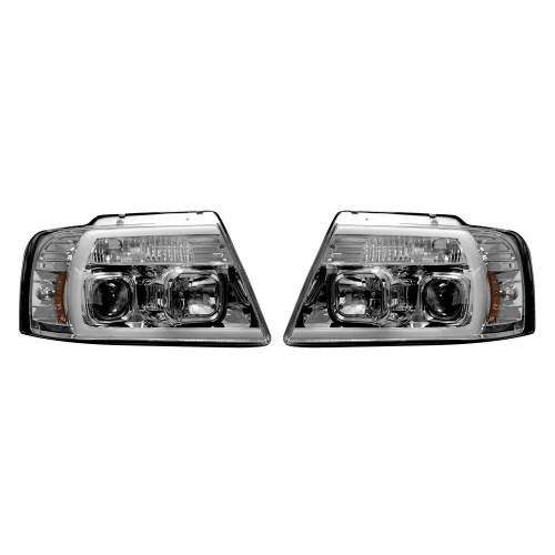 Lighting - Headlights - Recon Truck Accessories - 264198CLC | PROJECTOR HEADLIGHTS w/ Ultra High Power Smooth OLED HALOS & DRL – Clear / Chrome