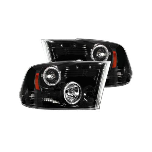 Lighting - Headlights - Recon Truck Accessories - 264270BKCC | PROJECTOR HEADLIGHTS w/ CCFL HALOS & DRL – Smoked / Black