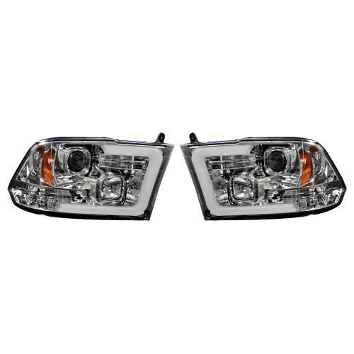 Lighting - Headlights - Recon Truck Accessories - 264270CLC | PROJECTOR HEADLIGHTS w/ Ultra High Power Smooth OLED HALOS & DRL – Clear / Chrome