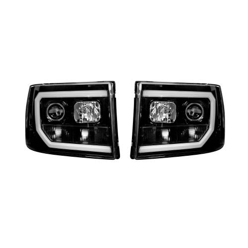 Lighting - Headlights - Recon Truck Accessories - 264271BKC | PROJECTOR HEADLIGHTS w/ Ultra High Power Smooth OLED HALOS & DRL – Smoked / Black