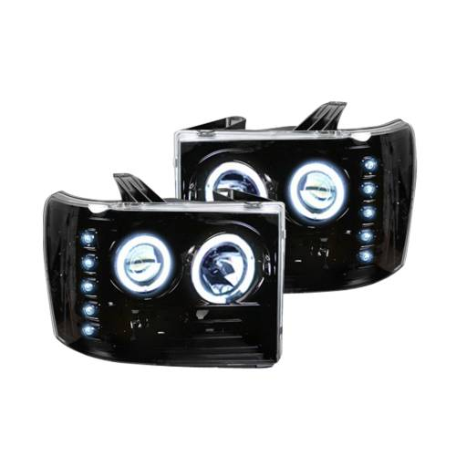 Lighting - Headlights - Recon Truck Accessories - 264271BKCC | PROJECTOR HEADLIGHTS w/ CCFL HALOS & DRL – Smoked / Black