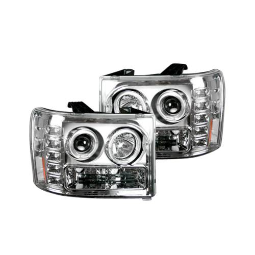 Lighting - Headlights - Recon Truck Accessories - 264271CLCC | PROJECTOR HEADLIGHTS w/ CCFL HALOS & DRL – Clear / Chrome