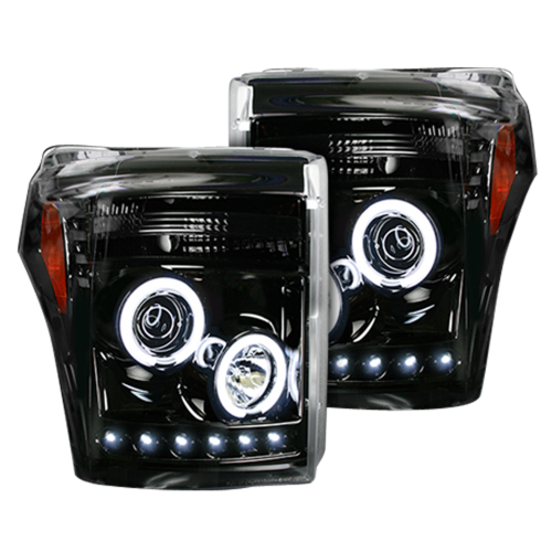 Lighting - Headlights - Recon Truck Accessories - 264272BKCC | PROJECTOR HEADLIGHTS w/ CCFL HALOS & DRL – Smoked / Black