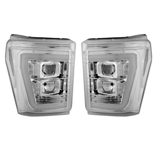 Lighting - Headlights - Recon Truck Accessories - 264272CLC | PROJECTOR HEADLIGHTS w/ Ultra High Power Smooth OLED HALOS & DRL – Clear / Chrome