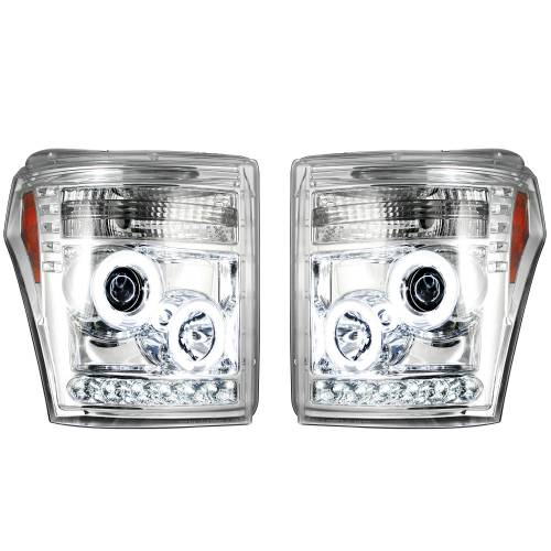 Lighting - Headlights - Recon Truck Accessories - 264272CLCC | PROJECTOR HEADLIGHTS w/ CCFL HALOS & DRL – Clear / Chrome