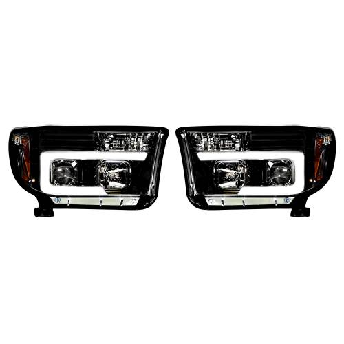 Lighting - Headlights - Recon Truck Accessories - 264194BKC | PROJECTOR HEADLIGHTS w/ Ultra High Power Smooth OLED HALOS & DRL – Smoked / Black