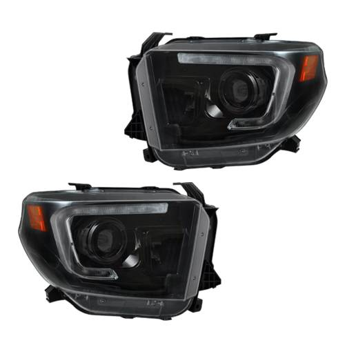 Lighting - Headlights - Recon Truck Accessories - 264294BKC | PROJECTOR HEADLIGHTS w/ Ultra High Power OLED DRL – Smoked / Black