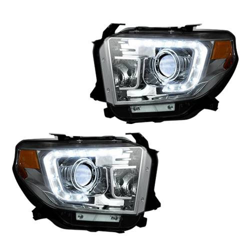 Lighting - Headlights - Recon Truck Accessories - 264294CLC | PROJECTOR HEADLIGHTS w/ Ultra High Power OLED DRL – Clear / Chrome