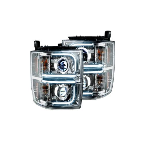 Lighting - Headlights - Recon Truck Accessories - 264275CLC | PROJECTOR HEADLIGHTS w/ Ultra High Power Smooth OLED HALOS & DRL – Clear / Chrome