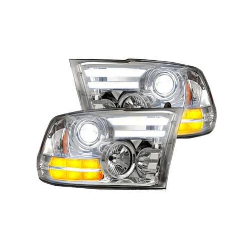 Lighting - Headlights - Recon Truck Accessories - 264276CLC   PROJECTOR HEADLIGHTS w/ Ultra High Power Smooth OLED DRL & High Power Amber LED Turn Signals – Clear / Chrome