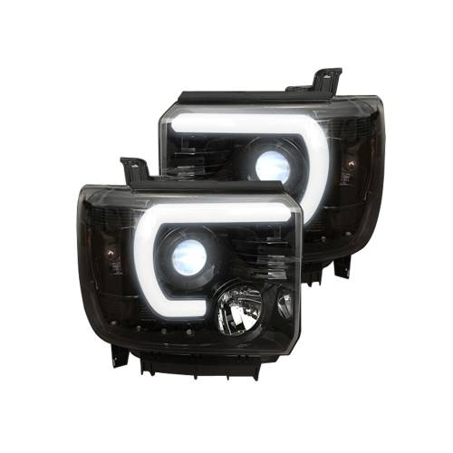 Lighting - Headlights - Recon Truck Accessories - 264295BKC | PROJECTOR HEADLIGHTS w/ SMOOTH OLED HALOS & DRL – Smoked / Black