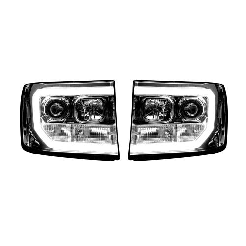 Lighting - Headlights - Recon Truck Accessories - 264271CLC | PROJECTOR HEADLIGHTS w/ Ultra High Power Smooth OLED HALOS & DRL – Clear / Chrome