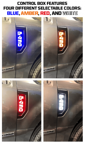 Lighting - Emblems, Badges & Inserts - Recon Truck Accessories - 264484BK | Illuminated Emblems in Black