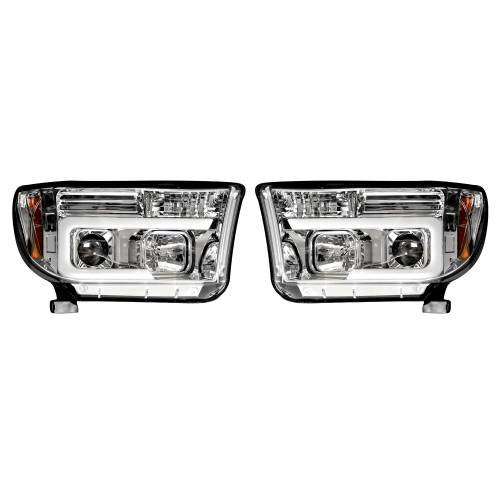 Lighting - Headlights - Recon Truck Accessories - 264194CLC | PROJECTOR HEADLIGHTS w/ Ultra High Power Smooth OLED HALOS & DRL – Clear / Chrome