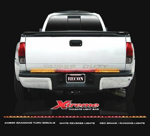 """Lighting - LED Tailgate Bars - Recon Truck Accessories - 26416X   60"""" Tailgate Bar w/ Ultra High-Power Dual Row LED, Amber """"Scanning"""" LED Turn Signals & Red LED Brake/Running Lights & White LED Reverse Lights"""