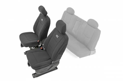 Interior - Seat Covers - Rough Country Suspension - 91024 | Chevrolet Neoprene Front Seat Cover Set | Black