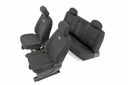 Interior - Seat Covers - Rough Country Suspension - 91025 | Chevrolet Neoprene Front & Rear Seat Cover Set | Black
