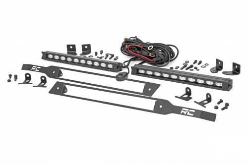 Exterior - Bumpers & Tire Carriers - Rough Country Suspension - 70818 | Chevrolet Dual 10 Inch LED Grille Kit | Chrome Series