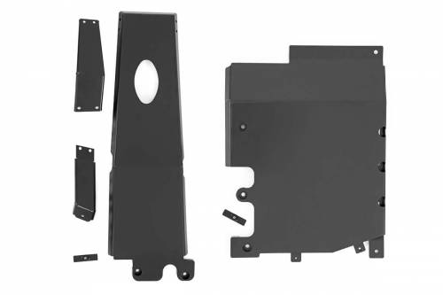 Exterior - Armor / Skid Plates - Rough Country Suspension - 10616 | Jeep Engine + Transfer Case Skid Plate Kit 3.6L