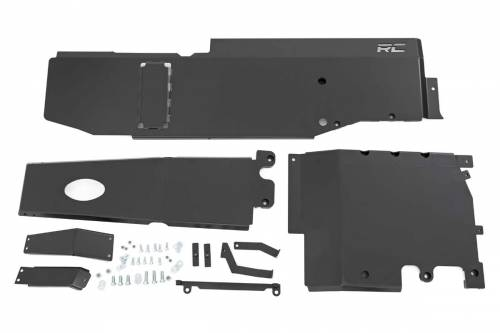 Exterior - Armor / Skid Plates - Rough Country Suspension - 10608 | Jeep Engine + Transfer Case Skid Plate Kit 3.6L