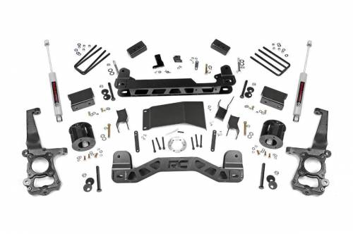 Rough Country Suspension - 55530 | 4 Inch Ford Suspension Lift Kit w/ Strut Spacers, Premium N3 Shocks